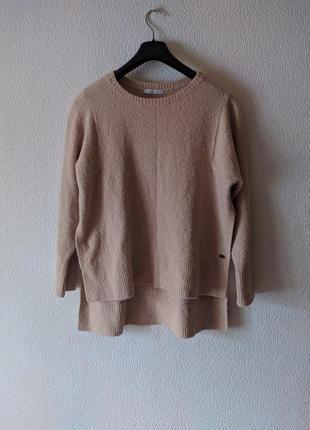 Пудровый оверсайз свитер с разрезами бойфренд джемпер esprit