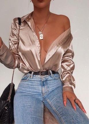 🌿 пудровая, сатиновая рубашка от nasty gal