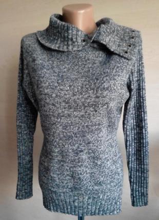 Меланжевый  шерстяной серый свитер с люверсами  saopaulo