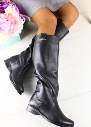 Lux обувь! натуральные зимние кожаные сапоги трубы на овчине
