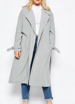 Брендовый серый плащ тренч с поясом и карманами wardrobe большой размер этикетка