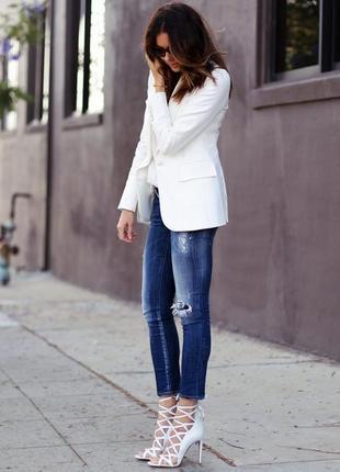 Брендовый белый коттоновый пиджак жакет блейзер precis petite португалия этикетка