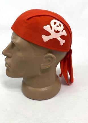 Банданка красная пиратская, детская