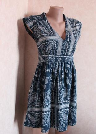 Платье, в интересный принт, темно синее, узор турецкий огурец