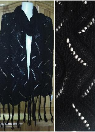 Длинный черный шарф 225cм