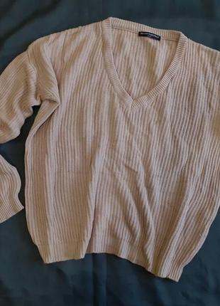 Мягкий свитер кофта реглан полувер вязаный вязка теплый бежевый