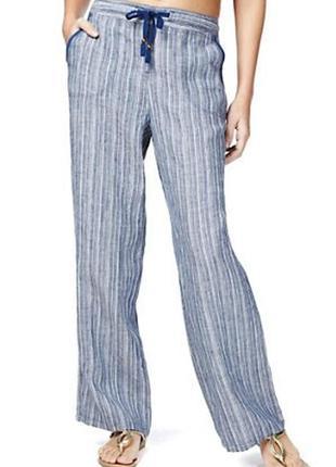 Красивые льняные штаны в полоску 100% лен 16/50-52 размера
