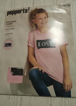 Новая футболка pepperts на девочку р.122-128 на 6-8 лет с паетками