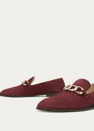 Замшевые лоферы, туфли с цепочкой massimo dutti