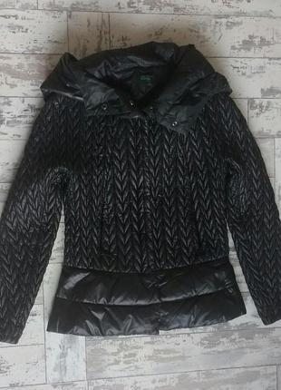 Benetton черный приталенный пуховик куртка с капюшоном