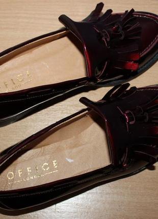Кожаные темно бордовые туфли лоферы office london