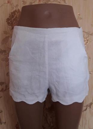 Белоснежные льняные шорты р-р s