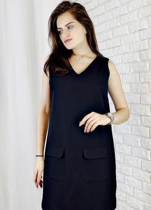 Черное платье футляр ровного края с карманами