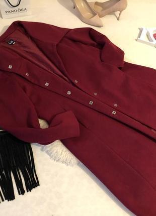 Крутое и неповторимое пальто на кнопках винного цвета бордо марсала на р. л/хл ...💄💋❣️