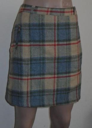Теплая шерстяная юбка мини в клетку/спідниця в клітинку шерстяна