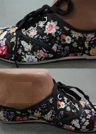 Женские цветочные мокасины из ткани есть размеры 36 код-06-04