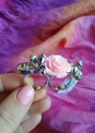Распродажа украшений! кольцо красивое стильное ретро двойное на два пальца череп роза