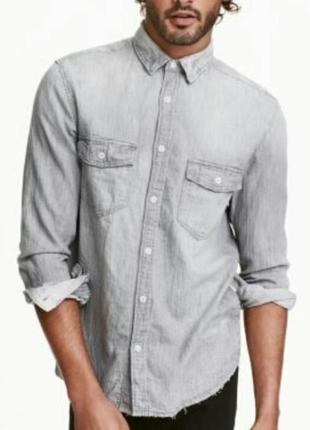 Мужская стильная рубашка с потертостями/ h&m