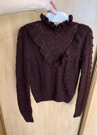 Новый бордовый свитер кофта zara