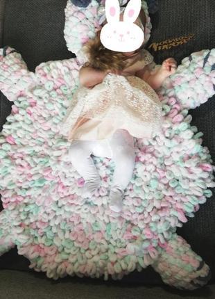 Детский вязаный коврик ручной работы