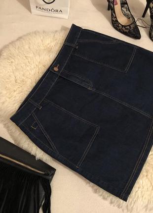 Мега крутая стрейчевая джинсовая юбка с кармашками на р. 16/44...👠💋❤️