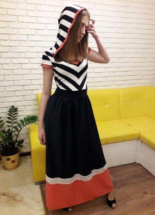 Платье летнее комбинированное, макси с капюшоном