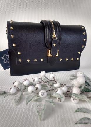 Женская кожаная сумочка клатч чёрная
