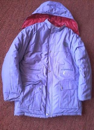Теплая двусторонняя куртка пуховик с отстегивающимся капюшоном