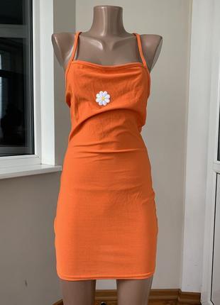 Оранжевый сарафан с ромашкой