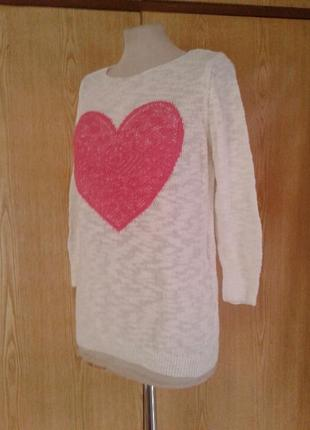 Джемпер белый с розовым сердцем, l.
