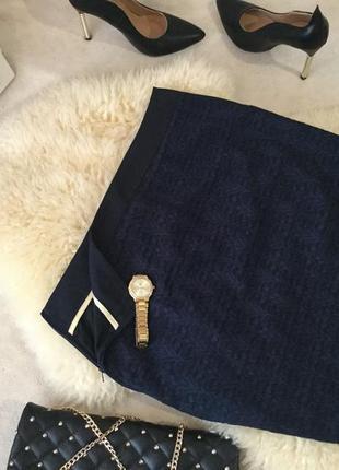 Эффектная красивая темно-синяя юбка с кармашками на р. 38/40 ...❤️💋💄