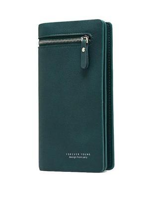 Стильный женский зеленый кошелек клатч