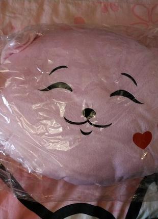 Подушка котик розовая