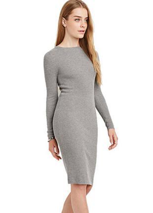 Серое теплое платье h&m