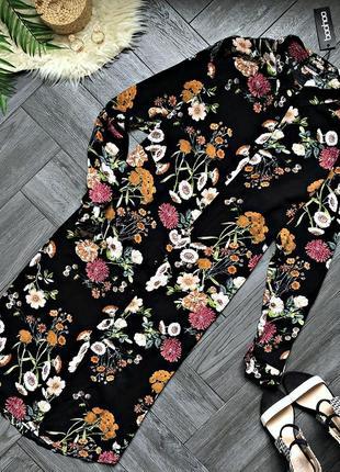 Платье-рубашка в цветы