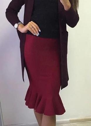 Теплая юбка, ягодного цвета,шерсть , с воланом