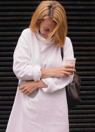 Белое платье туника, на флисе, теплое платье, оверсайз, байка