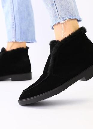 Lux обувь! трендовые женские натуральные зимние лоферы сапоги ботинки
