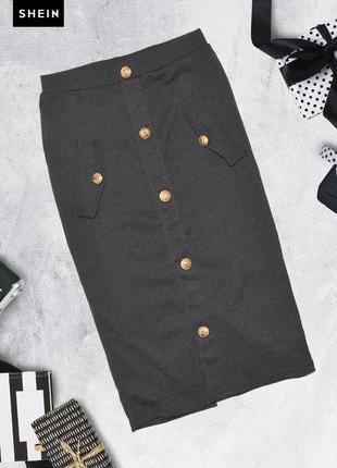 Трикотажная юбка карандаш с пуговицами shein