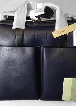 Мужская синяя сумка портфель calvin klein portfolio logo