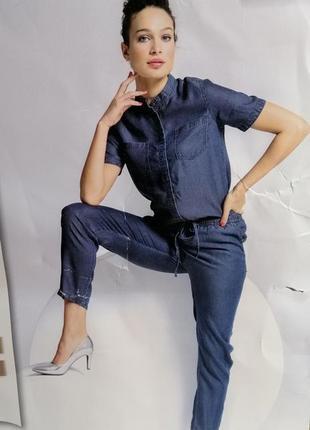 Крутейший комбинезон из тонкой ткани с окрасом под джинс