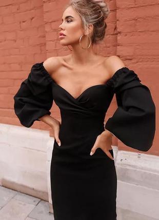 Витончена сукня - міді з обьємними рукавами