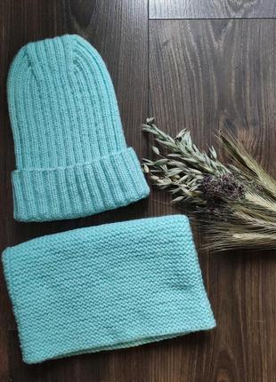 Вязаный комплект шапка и снуд