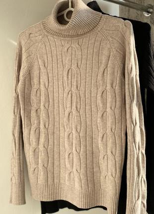 Кашемировый теплый свитер гольф под горло
