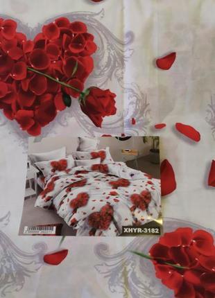 Хлопковое постельное белье сердца с розами в подарочной упаковке