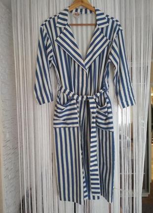 Платье халат с поясом, в сине белую полоску,хлопок, j.cook