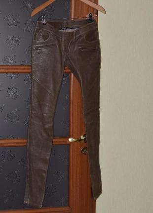 Кожанные брюки стрейч  от balmain