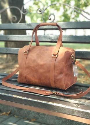 Кожаная дорожная сумка, коричневая сумка из кожи, ручная кладь