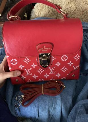 Сумка чемоданчик supreme louis vuitton красная кожаная новая