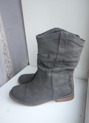 Сапоги кожаные сапожки ботинки ботильоны из натуральной кожи на низком каблуке серые